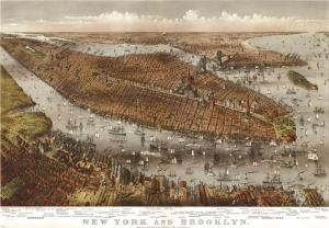 Usa Amerika Newyork Sehri Eski Cizim Harita Cografya Kanvas Tablo