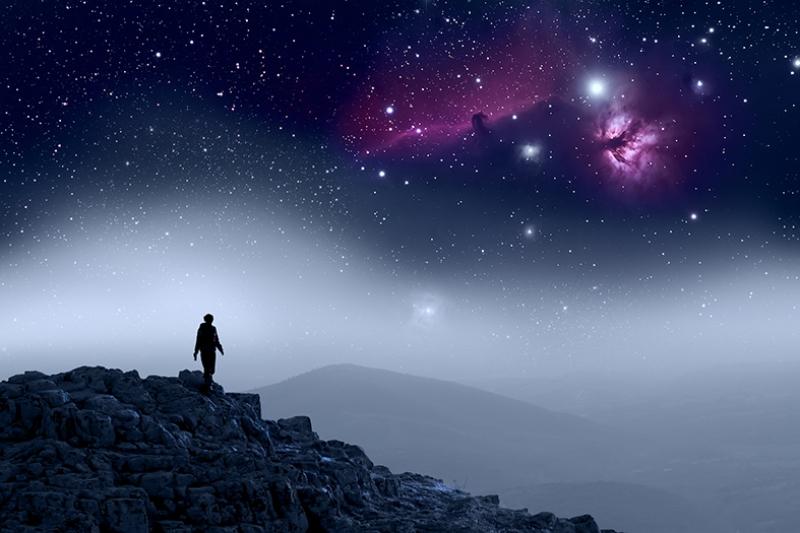 Uzay ve Galasi Yıldız Manzarası Kanvas Tablo