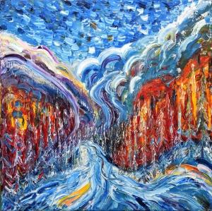 Vadideki Nehir Doğa Manzaraları Dekoratif Canvas Tablo
