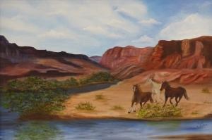 Vahşi Atlar, Mustang Amerika Modern Sanat Kanvas Tablo