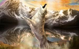 Vahşi Beyaz Kurt Hayvanlar Kanvas Tablo