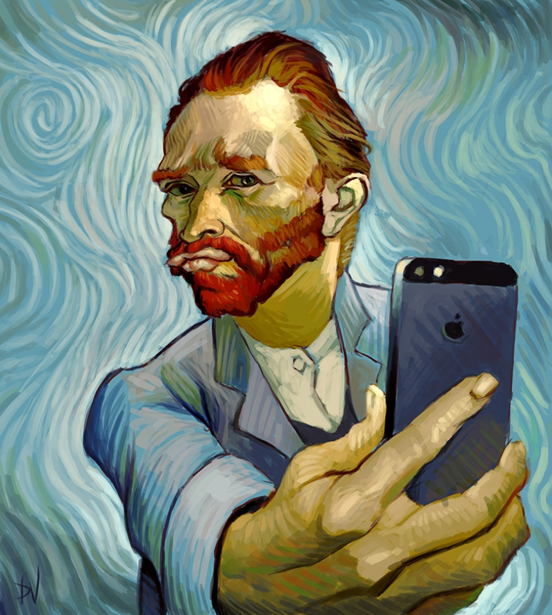 Van Gogh Selfie Popüler Kültür Kanvas Tablo