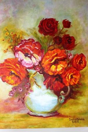 Vazo İçinde Çiçekler 14 Renkli Çiçekler Yağlı Boya Dekoratif Modern Kanvas Tablo
