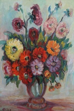 Vazo İçinde Çiçekler 16 Renkli Çiçekler Yağlı Boya Dekoratif Modern Kanvas Tablo
