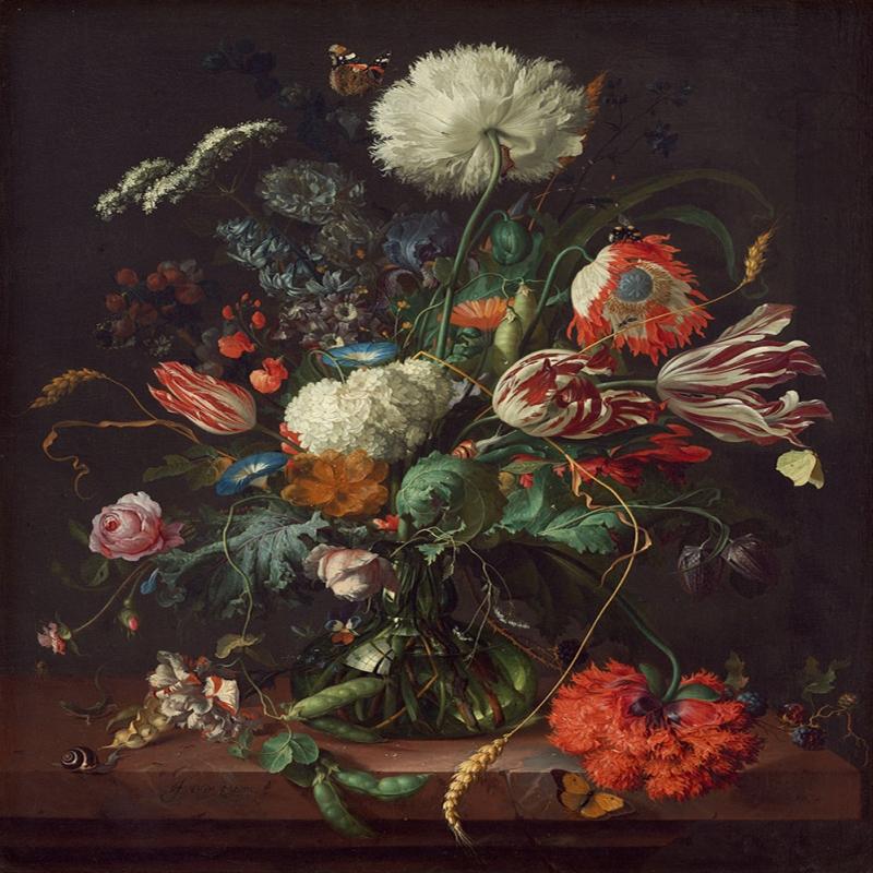 Vazo İçinde Çiçekler 17 Dekoratif Kanvas Tablo