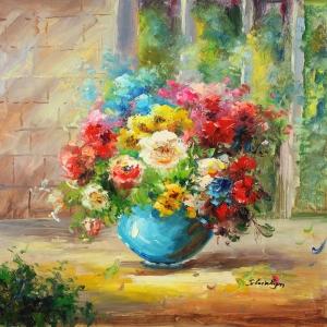 Vazo İçinde Çiçekler 3 Dekoratif Kanvas Tablo