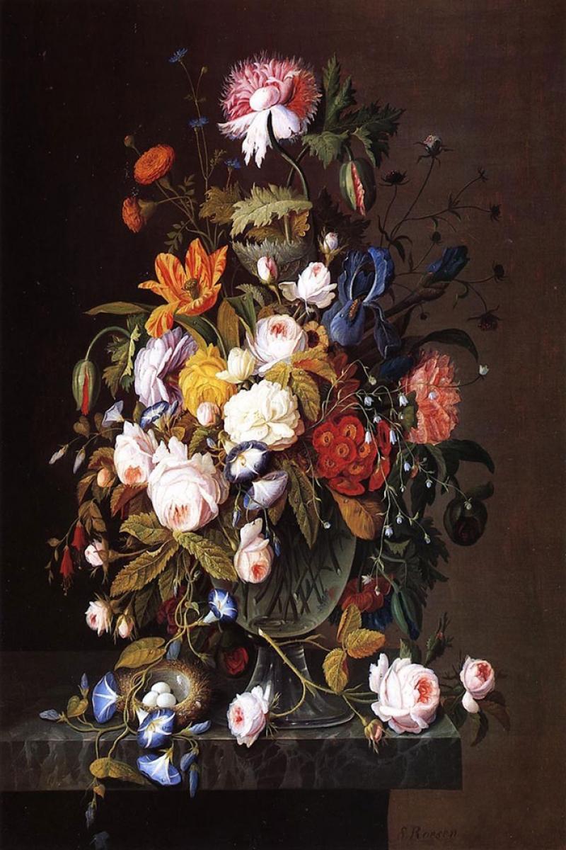 Vazo İçinde Çiçekler 30 iç Mekan Dekoratif Modern Kanvas Tablo