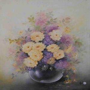 Vazo İçinde Çiçekler 49 Dekoratif Kanvas Tablo