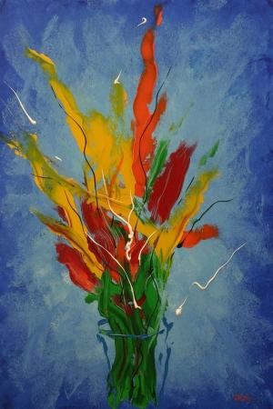 Vazo İçinde Çiçekler 55 İç Mekan Dekoratif Modern Kanvas Tablo