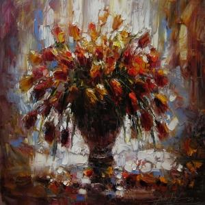 Vazo İçinde Çiçekler 56 Dekoratif Kanvas Tablo