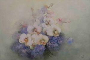 Vazo İçinde Çiçekler 57 Yağlı Boya Dekoratif Modern Kanvas Tablo