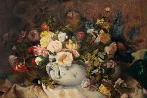 Vazo İçinde Çiçekler 58 Yağlı Boya Dekoratif Modern Kanvas Tablo