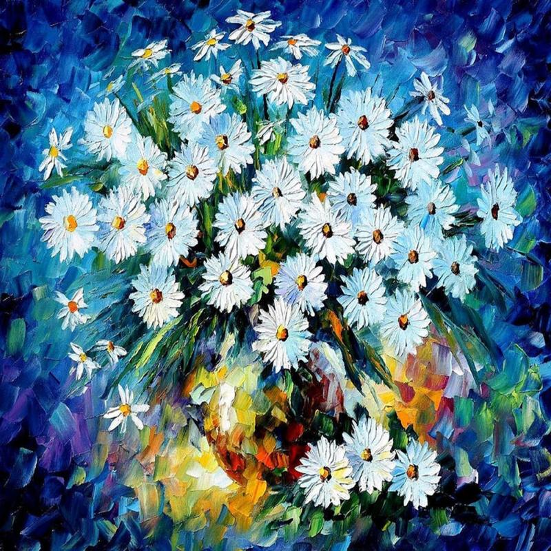 Vazo İçinde Çiçekler, Afremov 1 Dekoratif Kanvas Tablo