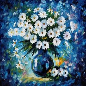 Vazo İçinde Çiçekler, Afremov 2 Dekoratif Kanvas Tablo