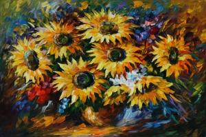 Vazo İçinde Çiçekler Afremov 3 Yağlı Boya Dekoratif Modern Kanvas Tablo