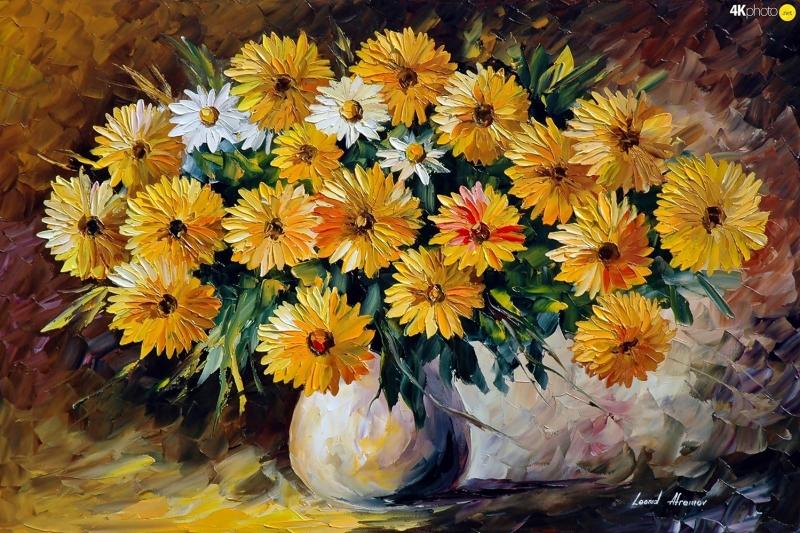 Vazo İçinde Çiçekler Afremov 4 Yağlı Boya Dekoratif Modern Kanvas Tablo