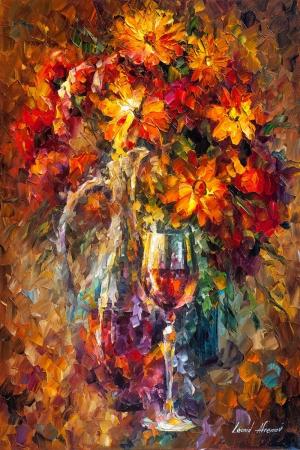 Vazo İçinde Çiçekler, Afremov 7, İç Mekan Dekoratif Modern Kanvas Tablo