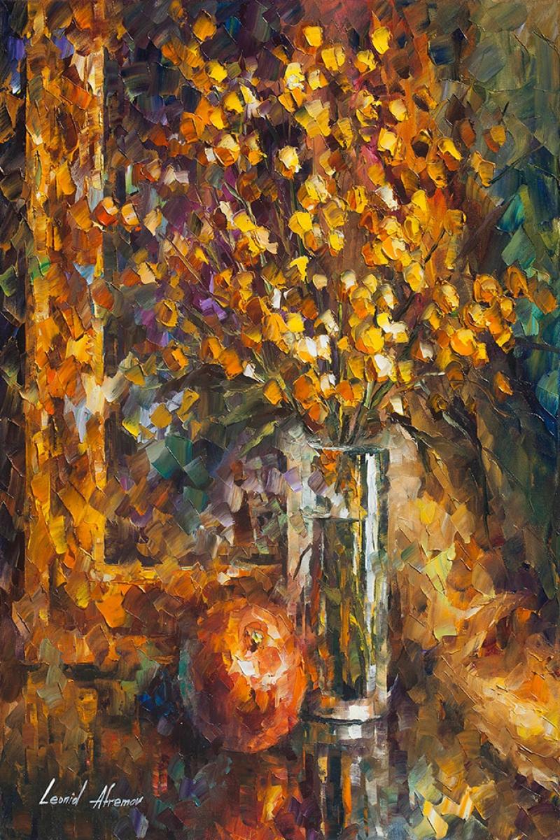 Vazo İçinde Çiçekler, Afremov 8, İç Mekan Dekoratif Modern Kanvas Tablo