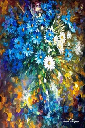 Vazo İçinde Çiçekler, Afremov 9, İç Mekan Dekoratif Modern Kanvas Tablo