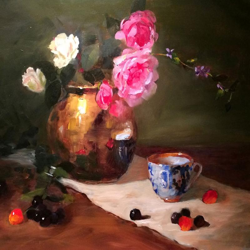 Vazo İçinde Güller 1, Pembe Kırmızı Beyaz Dekoratif Kanvas Tablo