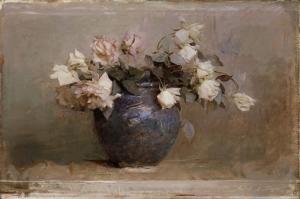 Vazo İçinde Güller 2, Pembe, Kırmızı, Beyaz Yağlı Boya Dekoratif Modern Kanvas Tablo