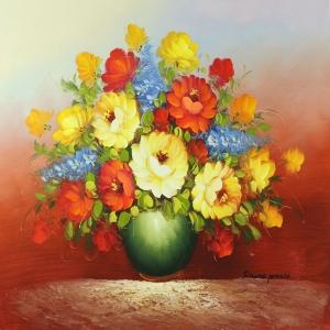 Vazodaki Çiçekler 10, Kırmızı Çiçekler Dekoratif  Modern Kanvas Tablo
