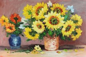 Vazodaki Çiçekler 11, Renkli Çiçekler Yağlı Boya Dekoratif Modern Kanvas Tablo
