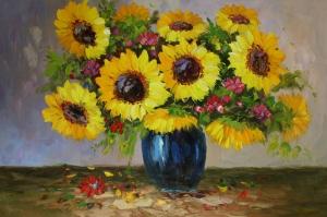 Vazodaki Çiçekler 12, Renkli Çiçekler Yağlı Boya Dekoratif Modern Kanvas Tablo