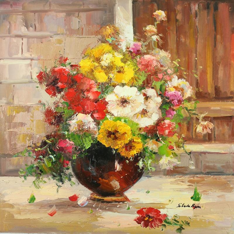 Vazodaki Çiçekler 15, Kırmızı Çiçekler Dekoratif  Modern Kanvas Tablo