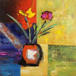 Vazodaki Çiçekler 19, Kırmızı Çiçekler Dekoratif  Modern Kanvas Tablo