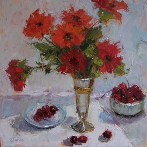 Vazodaki Çiçekler 2, Kırmızı Çiçekler Dekoratif  Modern Kanvas Tablo