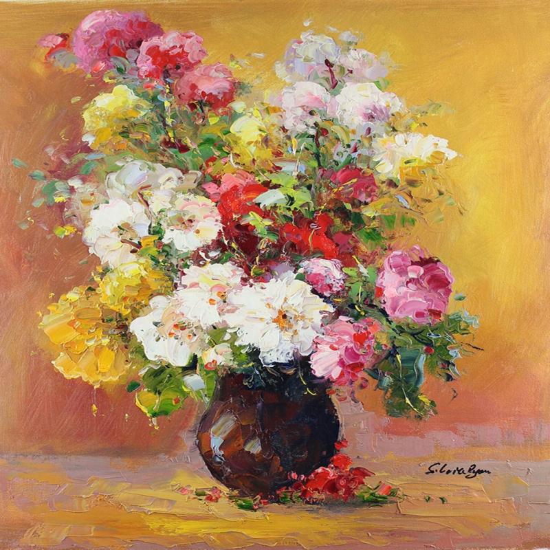 Vazodaki Çiçekler 7, Kırmızı Çiçekler Dekoratif  Modern Kanvas Tablo