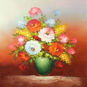 Vazodaki Çiçekler 9, Kırmızı Çiçekler Dekoratif Modern  Kanvas Tablo