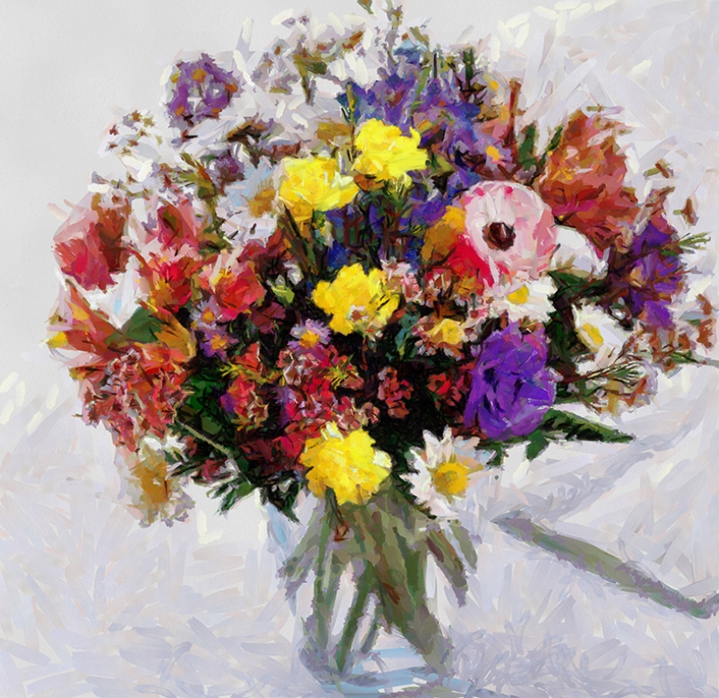 Vazodaki Çiçekler Floral Yağlı Boya Sanat Kanvas Tablo