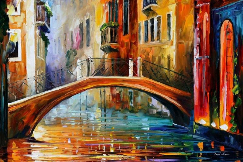 Venedik Akşam Işıkları 4 Yağlı Boya Dekoratif Modern Kanvas Tablo