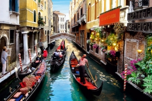 Venedik Dar Eski Sokaklar Renkli Evler Gondol İtalya Yaratıcı Müthiş Fotoğraflar-11 Dünyaca Ünlü Şehirler Kanvas Tablo