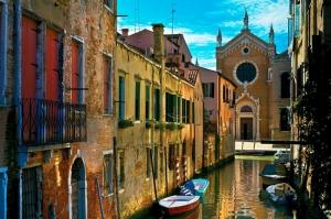 Venedik, Dar, Eski Sokaklar, Renkli Evler, Gondol İtalya, Yaratıcı, Müthiş Fotoğraflar-6 Dünyaca Ünlü Şehirler Kanvas Tablo