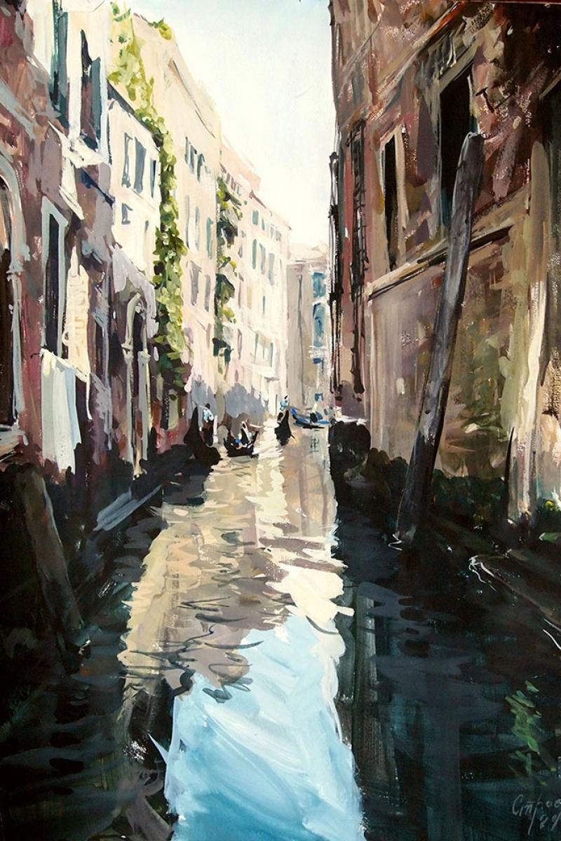 Venedik Dar Sokakaları Ve kanalları İtalya, İç Mekan Kanvas Tablo