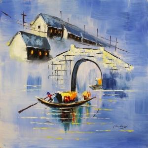Venedik Gondol Sefası 2, Dekoratif  Modern Kanvas Tablo