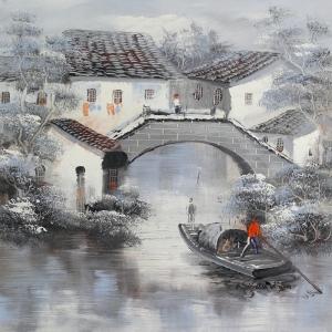 Venedik Gondol Sefası 7, Dekoratif  Modern Kanvas Tablo