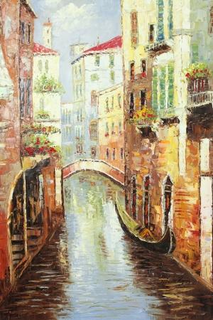 Venedik Gondol Sefası 9 Yağlı Boya Dekoratif Modern Kanvas Tablo