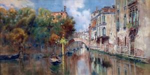 Venedik Kanal Görünümü Yağlı Boya Sanat Kanvas Tablo