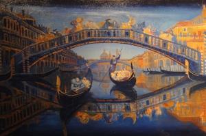 Venedik Kanal Manzaraları, İtalya Gondollar Yağlı Boya Dekoratif Modern Kanvas Tablo