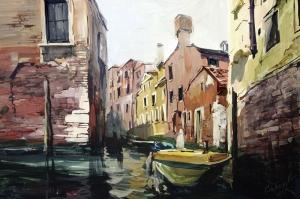 Venedik Kanal Manzaraları İtalya, Kayık Yağlı Boya Dekoratif Modern Kanvas Tablo