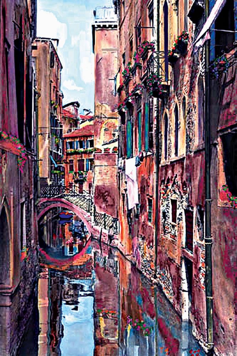 Venedik Kanal Manzarası 2, Renkli Evler İtalya,İç Mekan Dekoratif Modern Kanvas Tablo