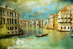 Venedik Kanalı Gondol HD Manzara Yağlı Boya Dekoratif Modern Kanvas Tablo