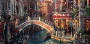 Venedik Renkli Çiçekler Dar Kanallar Renkli Evler İtalya-2 Yağlı Boya Sanat Kanvas Tablo
