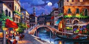 Venedik Renkli Çiçekler Dar Kanallar Renkli Evler İtalya-3 Yağlı Boya Sanat Kanvas Tablo