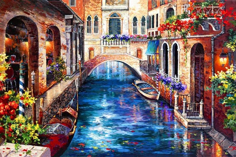 Venedik Renkli Çiçekler Dar Kanallar Renkli Evler İtalya-4 Yağlı Boya Sanat Kanvas Tablo
