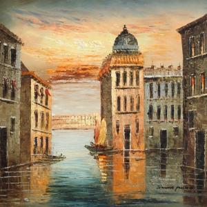 Venedik Şehir Manzarası 1 Dekoratif Kanvas Tablo